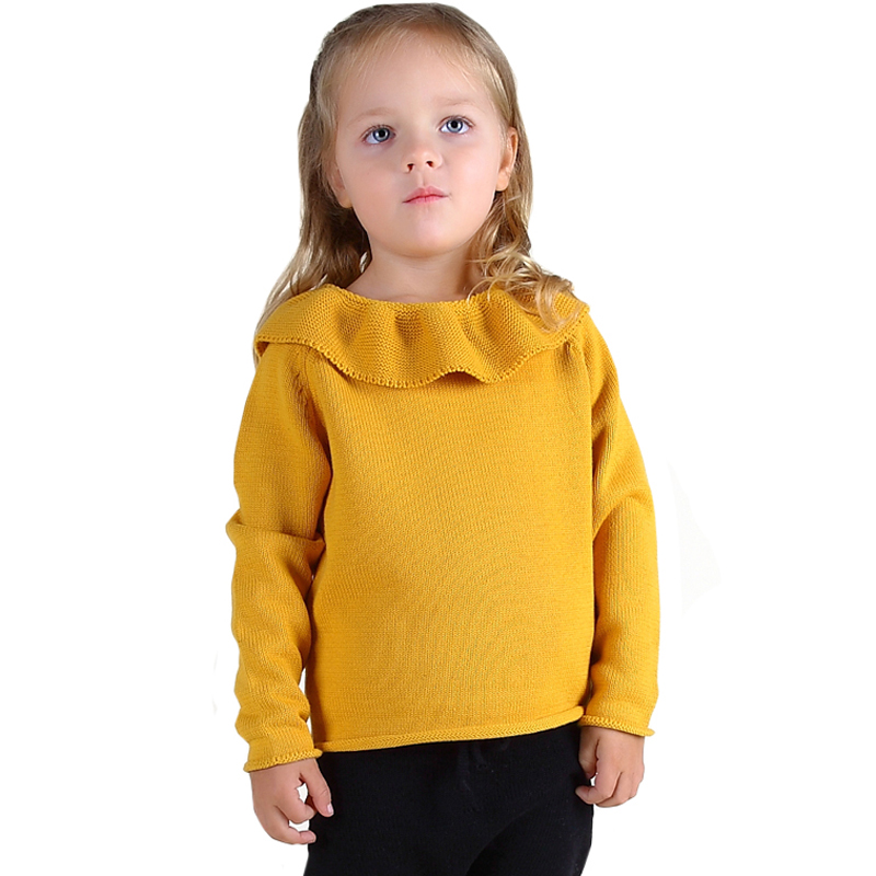 Children Sweater Girls Lotus Leaf Collar Sweater Shirt Yellow Winter Knitted Sweater Sweet Clothings for Baby Girls Sweater sweater