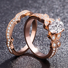 14k Rose Gold Diamond Ring for Women Luxury Wedding Bizuteria Anel Gemstone Anillos De Engagement Jewelry 14K Gold Diamante Ring vintage chic diamante solid rose embellished alloy ring for women