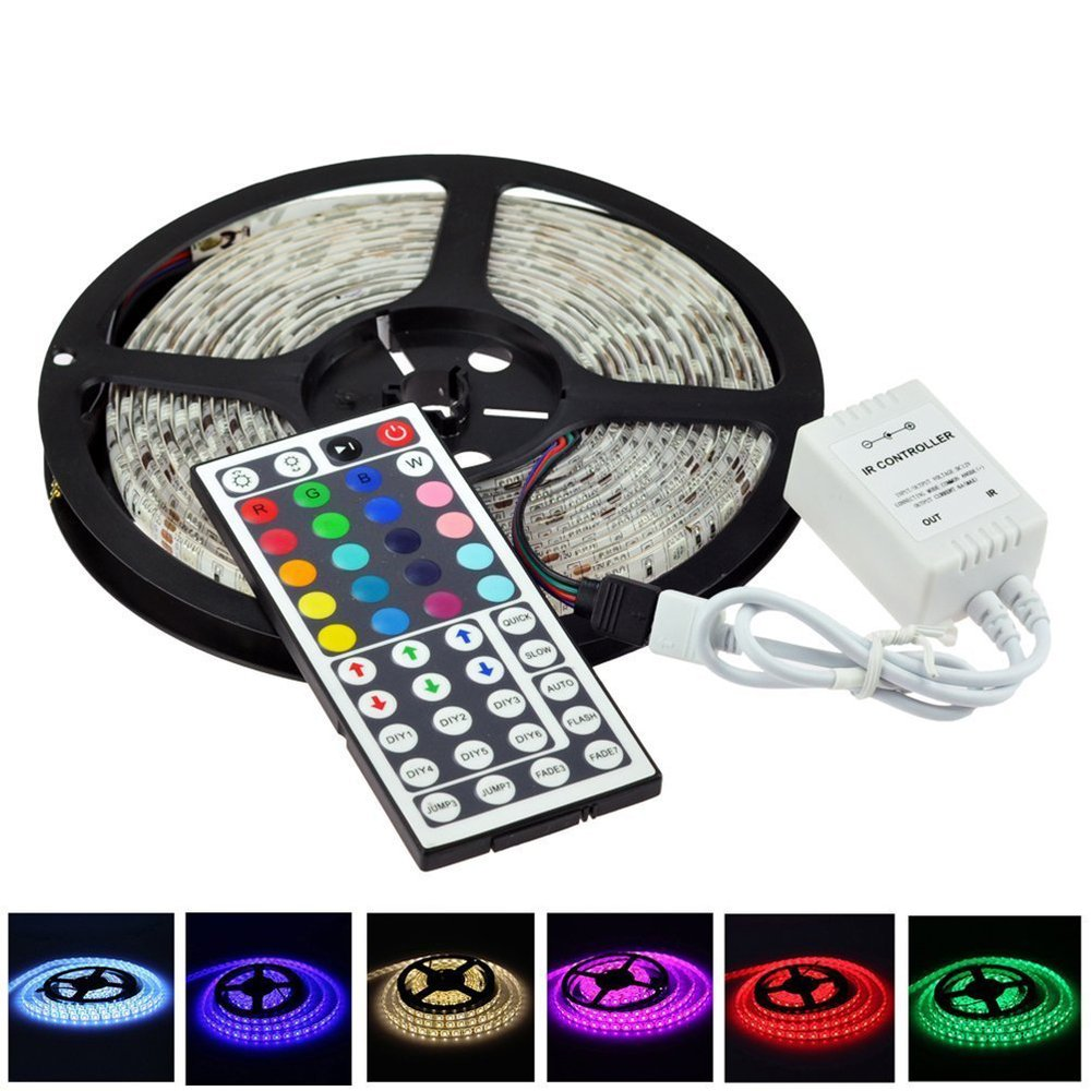 5 M RGB changement de couleur SMD5050 300LED étanche / Non - étanche Flexible LED bande de lumière lampe + 44Key télécommande IR