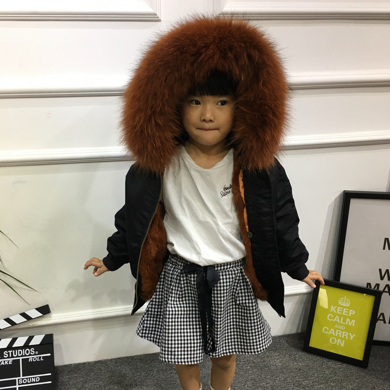 Children Army Coat Real Rabbit Fur Clothing Winter Rabbit Parkas Hooded Coat Boy And Girl Kids Warm Thick Outerwear Black Jacket fashion kids girl rabbit fur coat winter children natural rabbit fur outerwear jacket warm child thickening clothing
