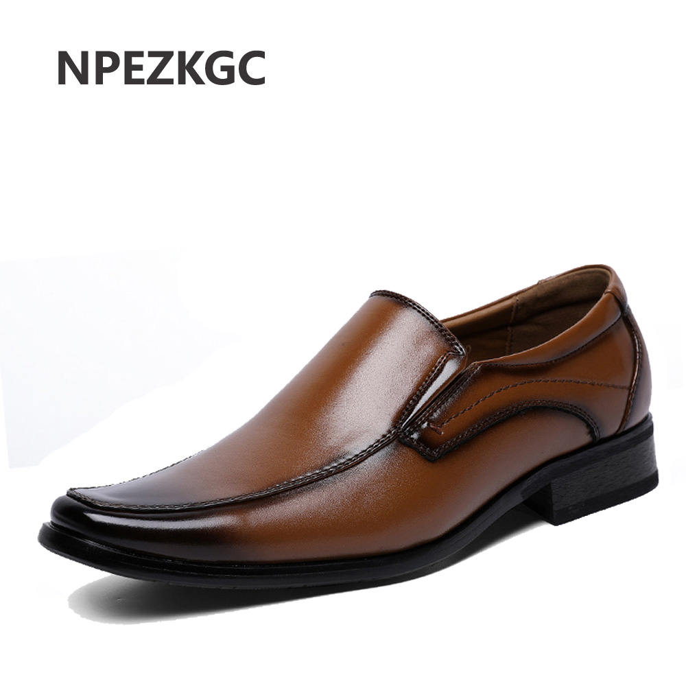 NPEZKGC 2019 New Men s Shoes Spring Summer Business Dress Shoes Genuine Leather Retro Gentleman Shoes