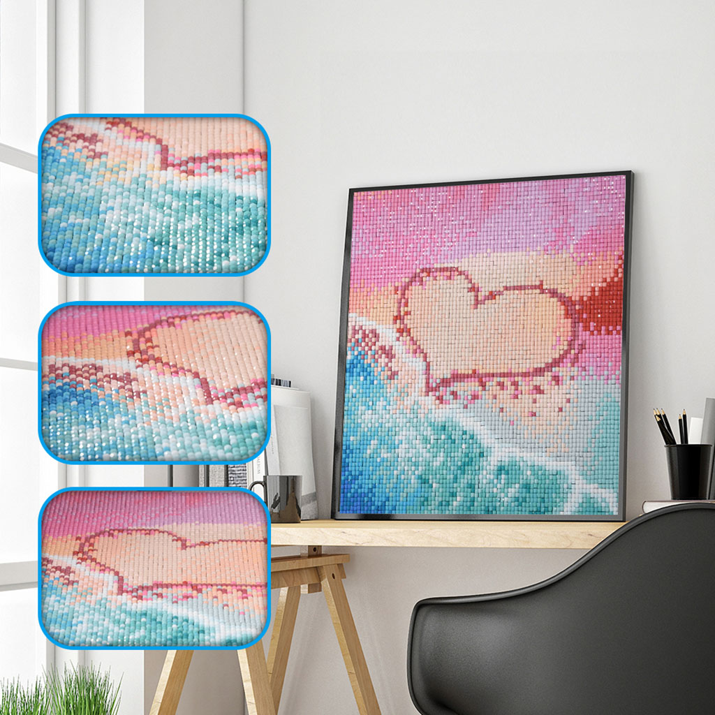 Love Heart Full Square Diamond Painting Cross Stitch Beach Scenery 5D DIY Diamond Embroidery Seaside Square Diamond  Gift