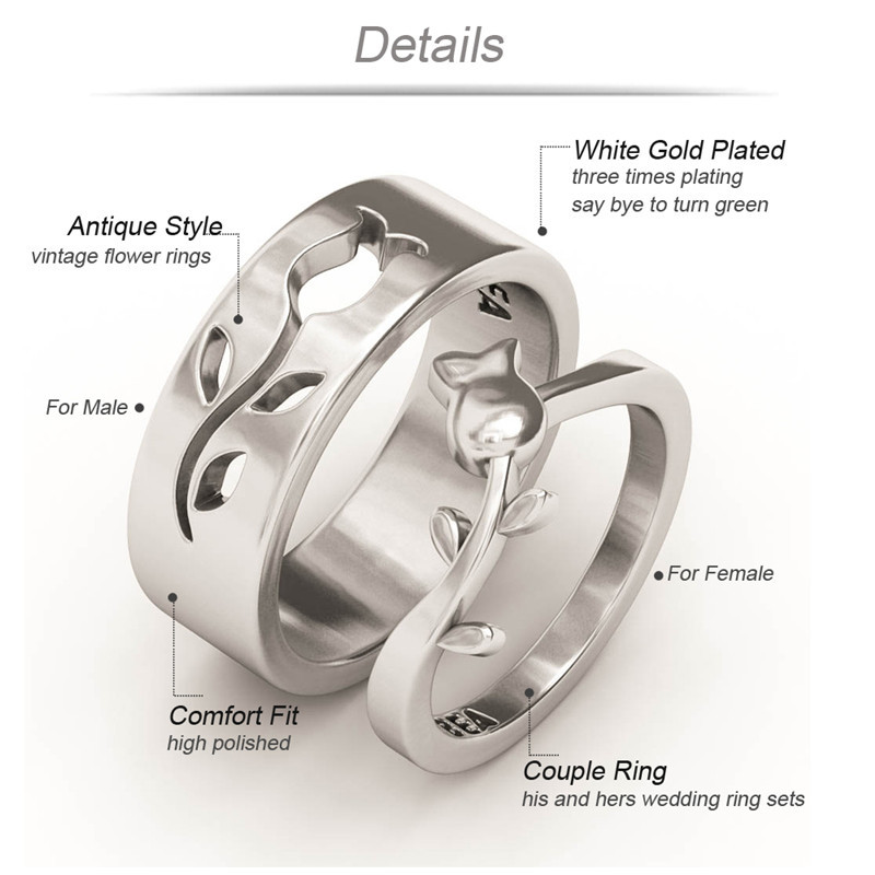 EVBEA His and Hers Wedding Ring Sets Antique Engraved White Gold
