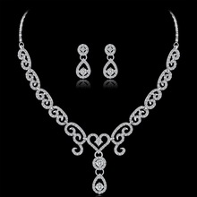 Women Choker Necklaces Wedding Silver Jewelry Set Crystal Earring Necklace Pendant Rhinestone Waterdrop Bridal Jewelry Sets