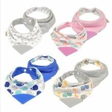 Lion Bear New Baby Gum Bib High Quality Triangle Saliva Towel Double Layers Cotton Gum Bib Infant Kid Scarf Bandana