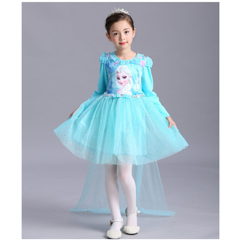 High Quality Lace Sequins Princess Anna Elsa Dress Kids Birthday Clothes Toddler Christmas Dress Child Princess Costumes