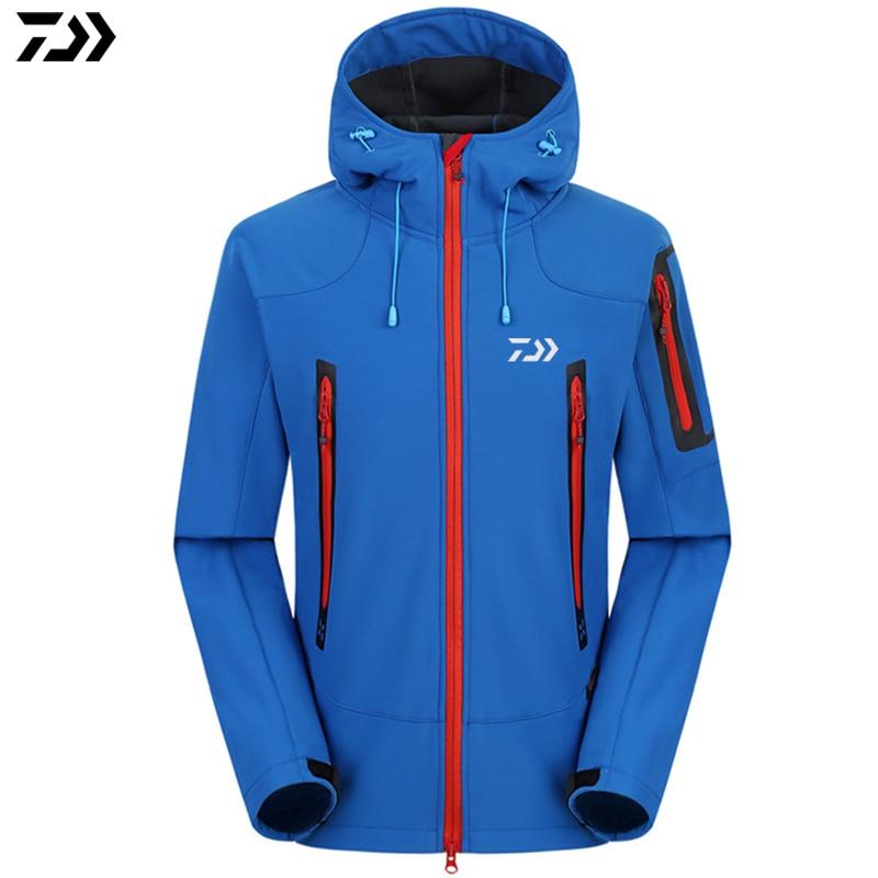 Daiwa Дава ветровка Утепленная одежда зима Для мужчин Рыбалка одежда Застёжки-молнии свитер рубашка куртка Спорт на открытом воздухе Рыбалка куртка с капюшоном