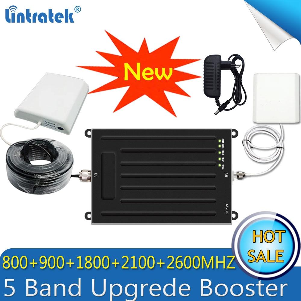 Lintratek Nouveau 5 Bande 800/900/1800/2100/2600 mhz Amplificateur de Signal GSM 3G UMTS 4G LTE B1/B3/B7/B8/B20 Répéteur Amplificateur Antennes 4G