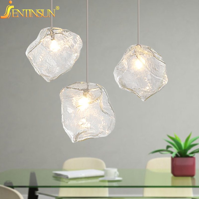 creative designer ice cubes pendant light 3 head g4 bulb glass stone lights lamp art deco led hanging lighting home fixture