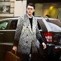 Novo 2016 Dos Homens vestuário de moda padrão decorativo outerwear casaco de lã de médio-longo outono inverno trajes