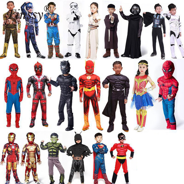 Spiderman Superman Iron Man Cosplay Costume for Boys Carnival Halloween Costume for Kids Star Wars Deadpool Thor Ant man Panther