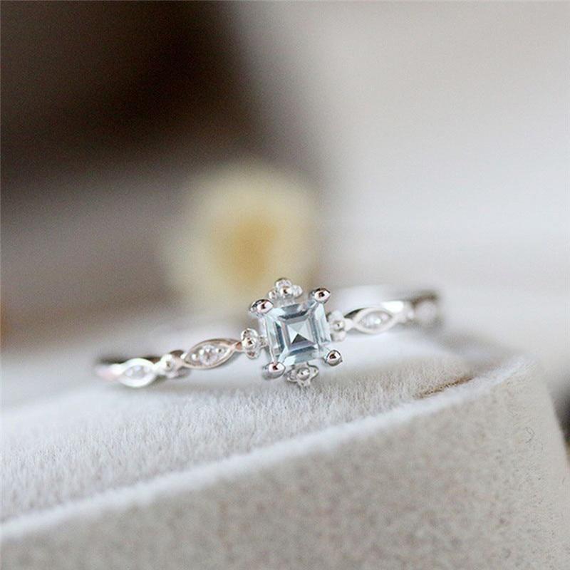 ROMAD délicat bleu bague en cristal pour les femmes Style Simple carré bague de fiançailles ladys bijoux de mode bague R4