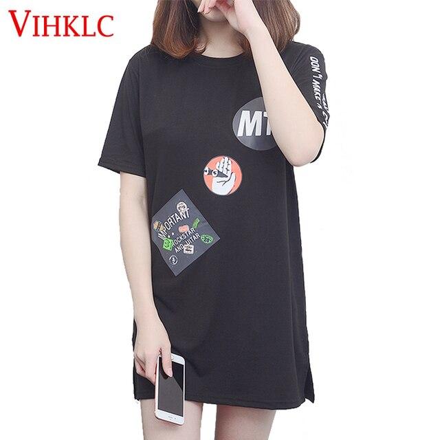 f3df60a2979 Plus Size Women T shirt Dress 2017 Summer New Short Sleeve Mini Bodycon  Slim Party Sexy Black White Casual T shirt Dresses A340