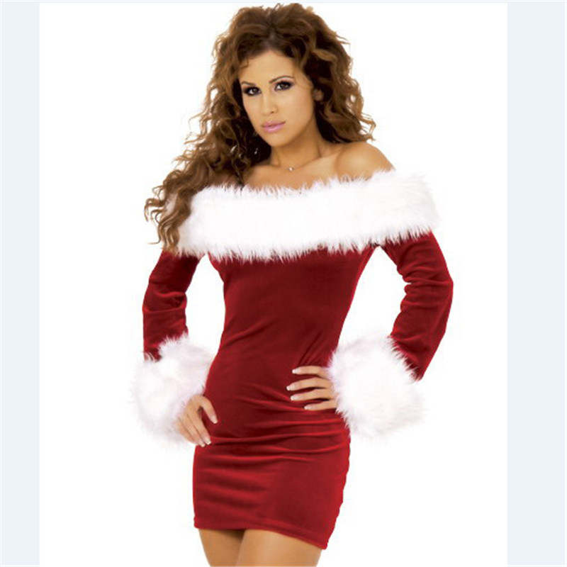 2018 high quality sexy red strapless Christmas dress  Nightclub stage Lingerie uniform performance temptation women Christmas