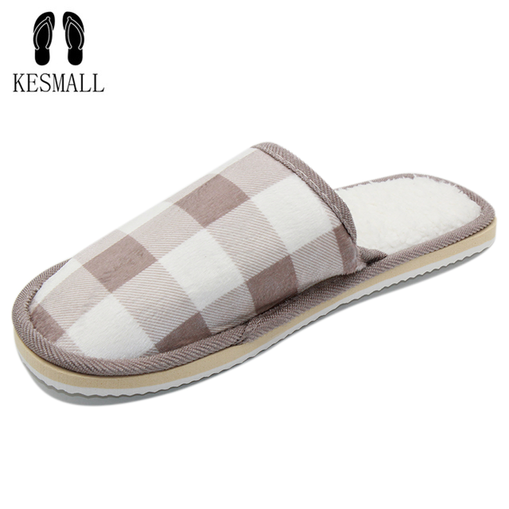 KESMAL New Fashion Striped Style Household Linen Skid Slippers Home Indoor Slipper Winter Men Women Shoes Lover Floor Shoe WS311 fashion lovers striped home indoor floor slippers winter women confinement warm foot slipper men casual house non slip shoe