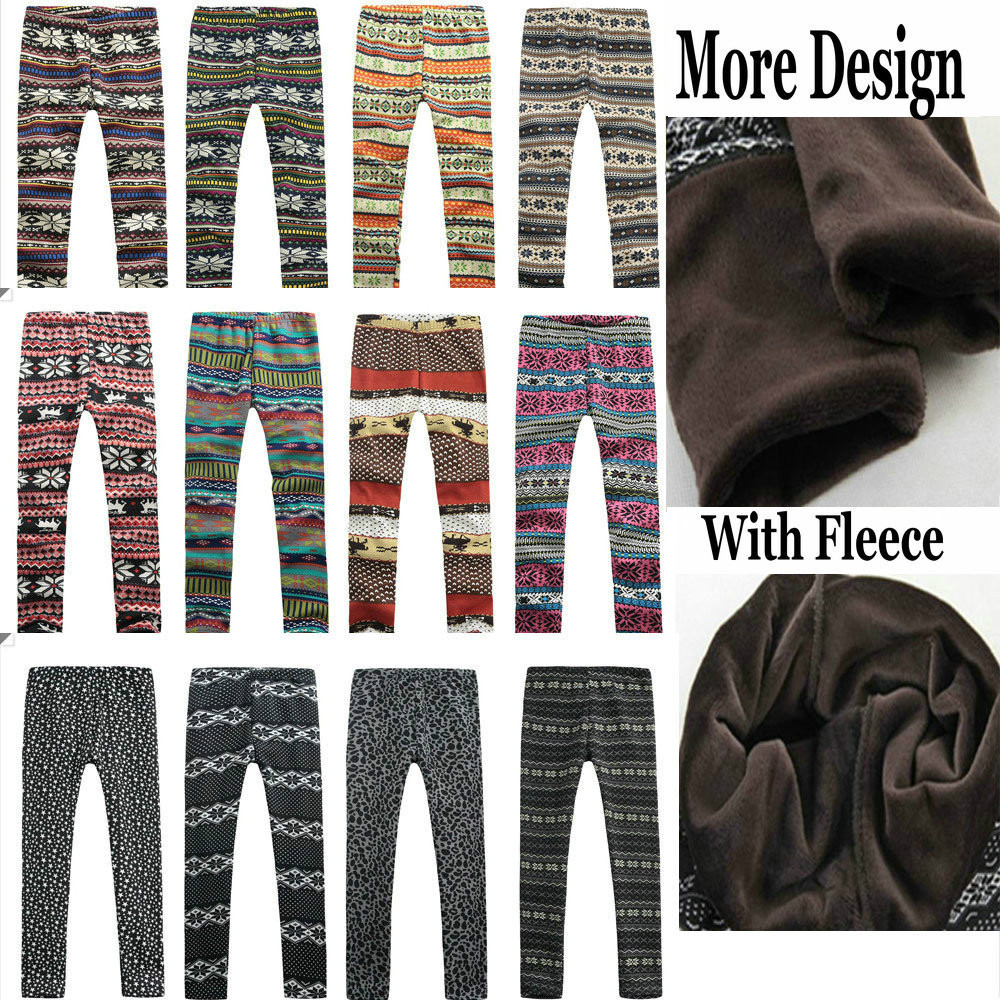 e76355ab500b8 Autumn Fall Winter Christmas Leggings, Brushed Fleece Lined Warm Winter  Leggings Aztec Snowflake Print Pants More Styles