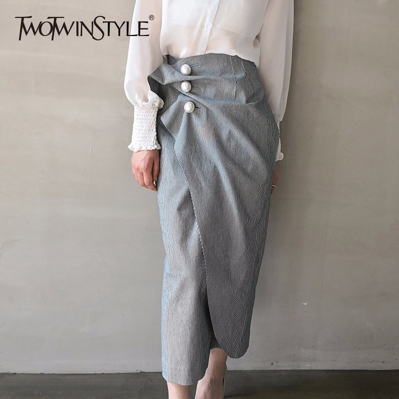 TWOTWINSTYLE Striped Pearls Skirts Ruched High Waist Patchwork Split Irregular Midi Skirts 2020 Spring Fashion Korean Clothing