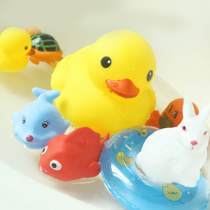 Image 4 - 15PCS/Bag Bath Toy Animals Swimming Water Toys Mini Colorful Soft Floating Rubber Duck Squeeze Sound Funny Gift For Baby Kids