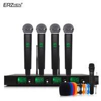 Беспроводной микрофон Системы SM58G профессиональный микрофон 4 канала UHF Динамический Профессиональный 4 ручной микрофон + караоке