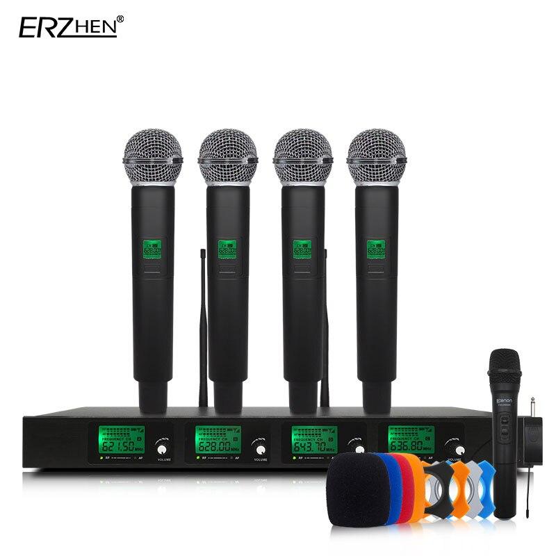 Micrófono inalámbrico profesional UHF Quad canal de solapa inalámbrico Auriculares auriculares Conferencia micrófono KTV SM58
