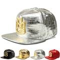 Cool King Crown Crocodile Leather Pu Caps Aba Reta Gorras Planas Hip Hop Bone Masculino Dance Street Style Hats Ca017