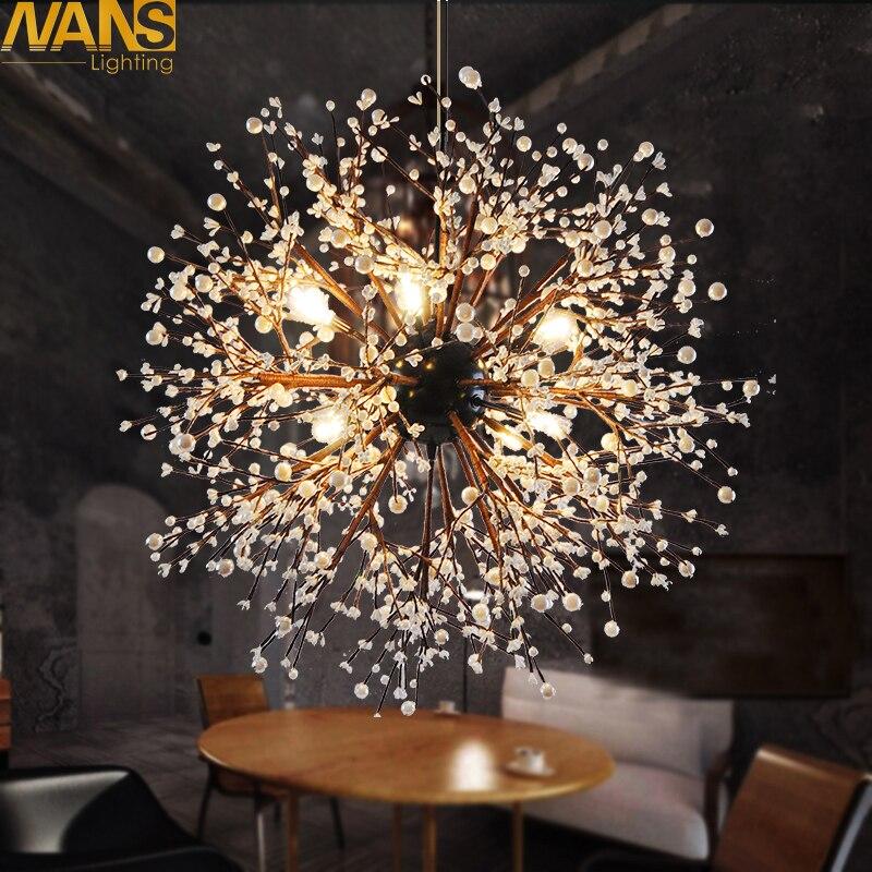 NANS 8 pièces lumières lustres feu d'artifice led Vintage en fer forgé lustre île pendentif éclairage plafonnier, Dia 23.5 pouces