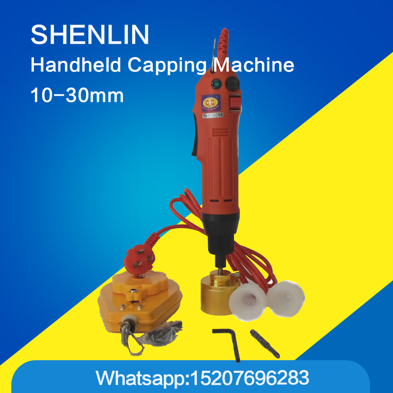 Manual bottle capping machine, hand held cap screwing capper tools, electrical packaging machine, cosmetic container capping