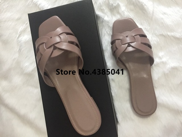 a101fd90f37 100% Real photos Tribute Patent Leather Black Pink Lady Sandals Shoes Woman  Cozy Slides Open Toe Flats Mujer Slippers Tide Shoes