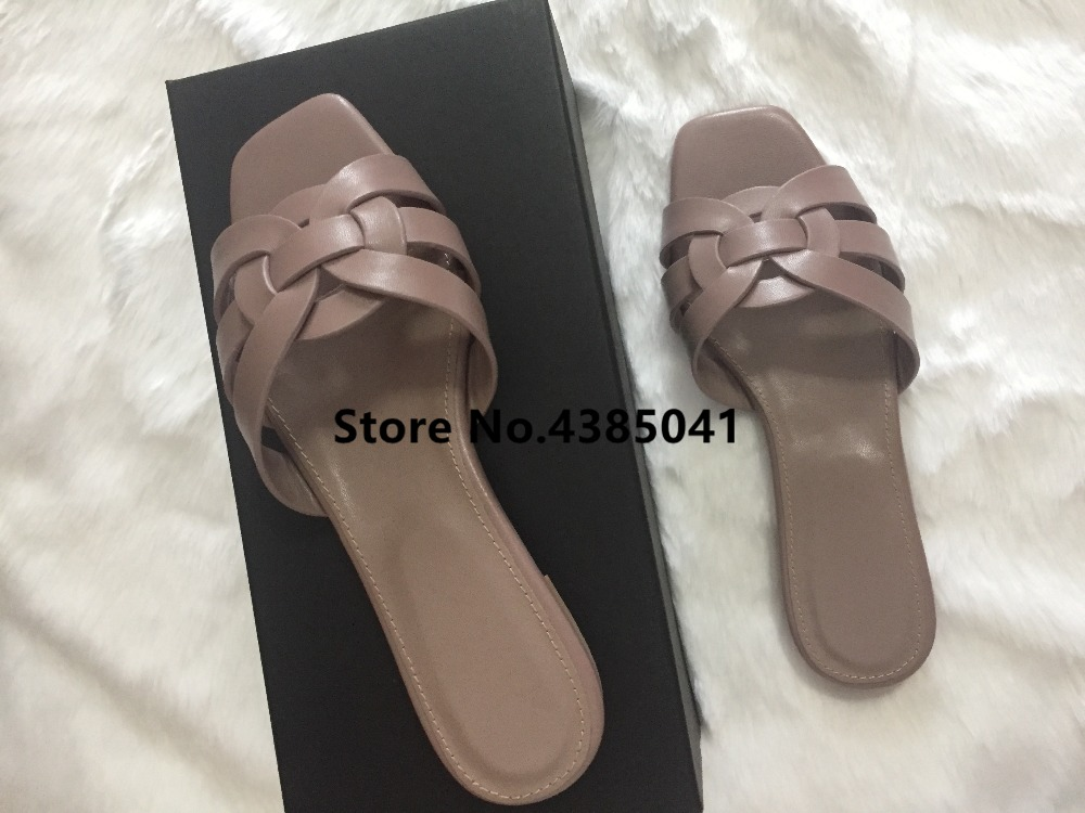 100% Real photos Tribute Patent Leather Black Pink Lady Sandals Shoes Woman Cozy Slides Open Toe Flats Mujer Slippers Tide Shoes
