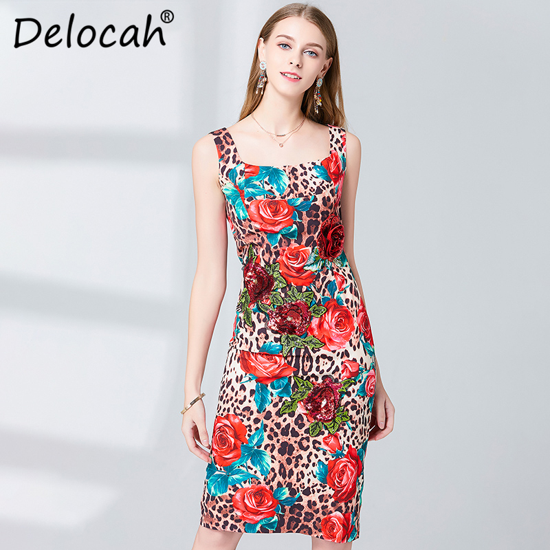 Delocah Women Spring Summer Dress Runway Fashion Designer Sleeveless Gorgeous Appliques Rose Flower Printed Slim Ladys