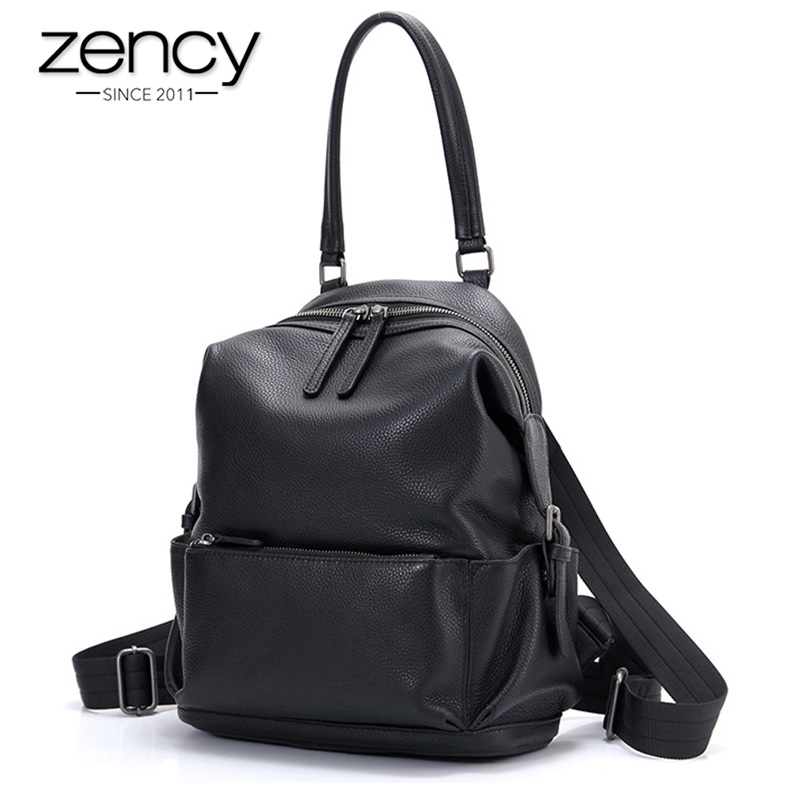 Zency Fashion Women Backpack 100% Genuine Leather Daily Casual Travel Bags For Lady Preppy Style Girl's Notebook Schoolbag Black