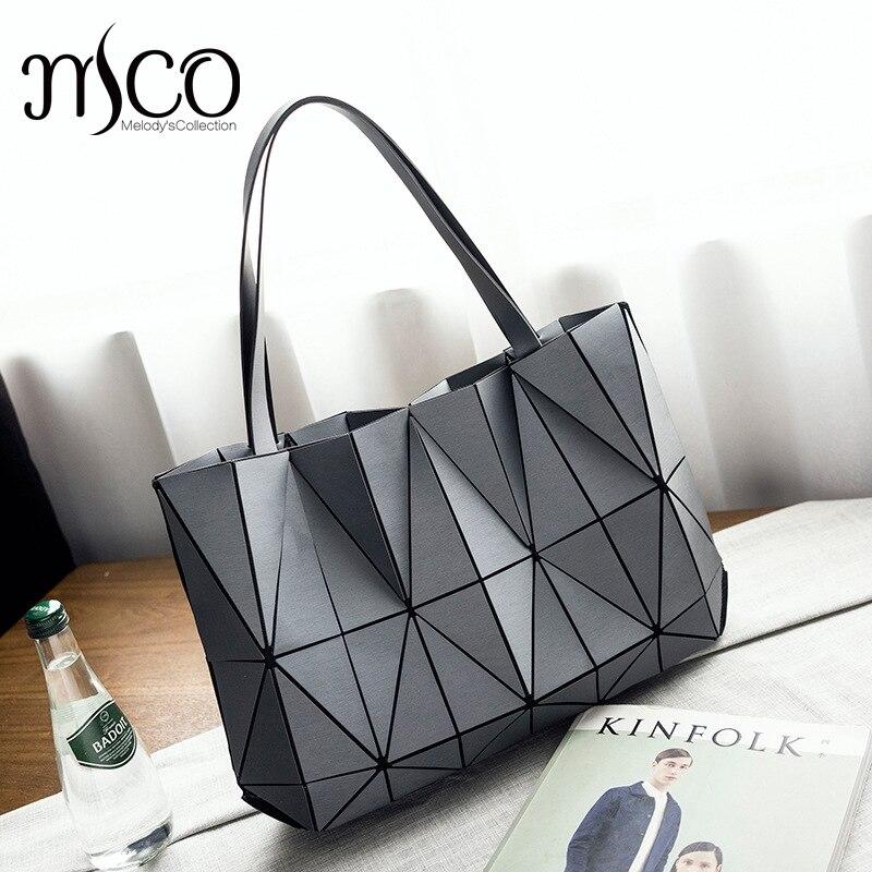 2017 nouveau japon sac pliant chaînes sac à main de luxe Lucent prisme Rock fourre-tout décontracté Shopper fourre-tout lumineux femmes holographique Bao