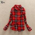 [XPY]Spring And Autumn New t shirt Women Sanding Korean Women's Shirt Slim Bottoming Plaid Tees Women's Fashion Shirt