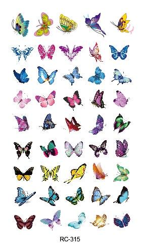 Rocooart RC-315 Butterfly Elements DIY Waterproof Temporary Tattoo Stickers Colorful Flash Fake Tattoo Taty Tatuaje For Body Art
