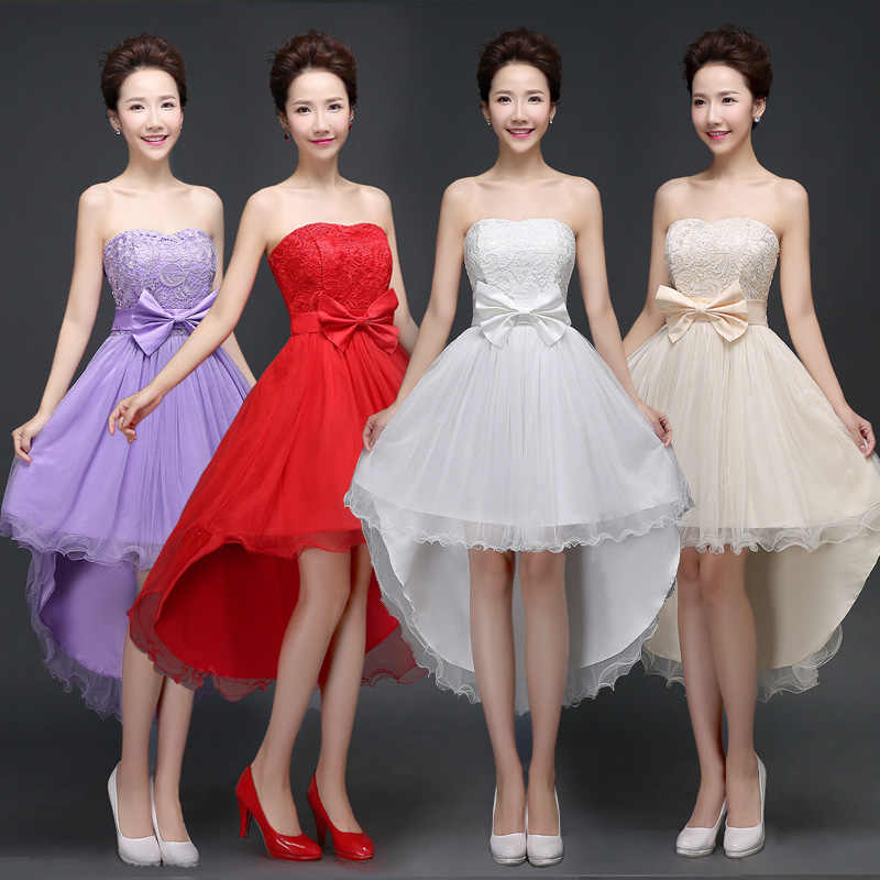 Sweet Memory 2018 High Low bridesmaid dresses with bow stage dance school  performance bridesmaid dress SW0017 6dbd2148efe0