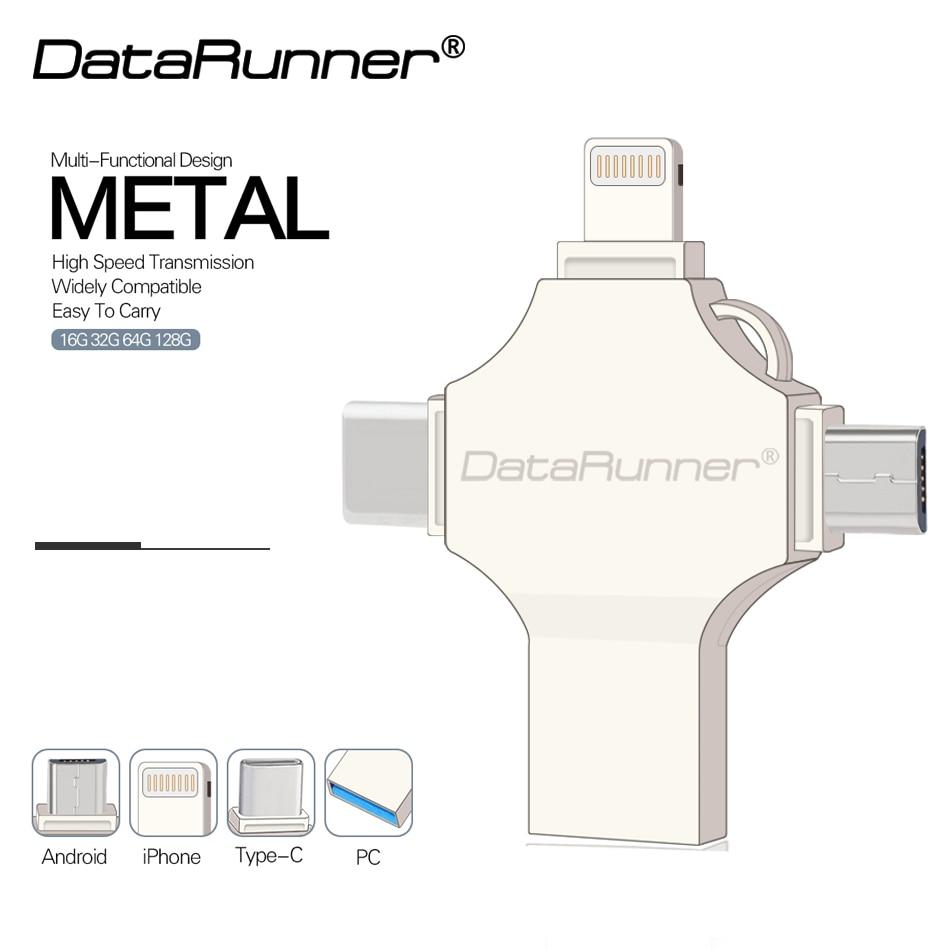 DataRunner USB Flash Drive OTG 4 In 1 USB3.0/iOS/Type C/ Micro Usb Pen Drive 16GB 32GB 64GB 128GB Pendrive USB Stick Flash Drive