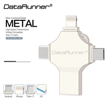 Флеш-накопитель DataRunner USB 4 в 1 iOS/type C/Micro usb/Usb 3,0 флеш-накопитель 16 ГБ 32 ГБ 64 ГБ 128 ГБ Флешка флеш-накопитель