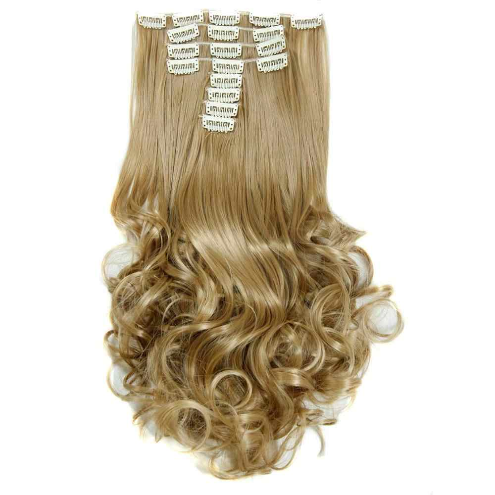 Luxury For Braiding 50cm Highlighted Color Synthetic Clip Ins Hairpieces Wavy Synthetic Clip On Hair Extensions 50cm 8pcs/set