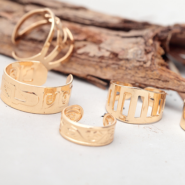 Adjustable Stacking Rings Punk Hollow Out Knuckle Ring Sets Simple Shiny  Gold Color Plain Wedding Bands
