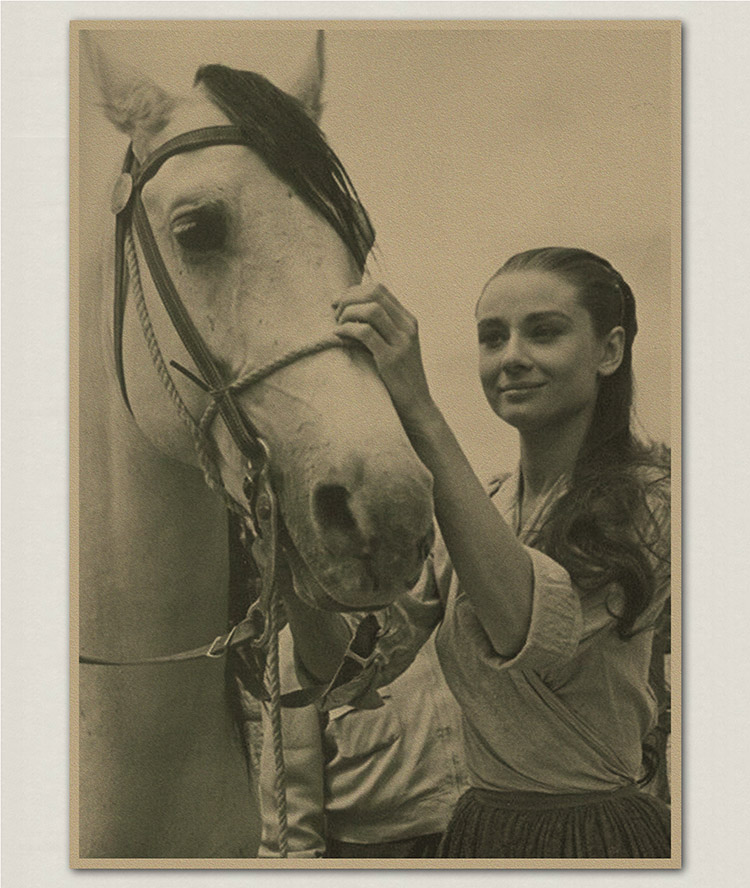 Audrey Hepburn and horse old Paper Retro Wall Poster Living Room Art Crafts Cafe Bar Decor Sticker Painting 42x30CM