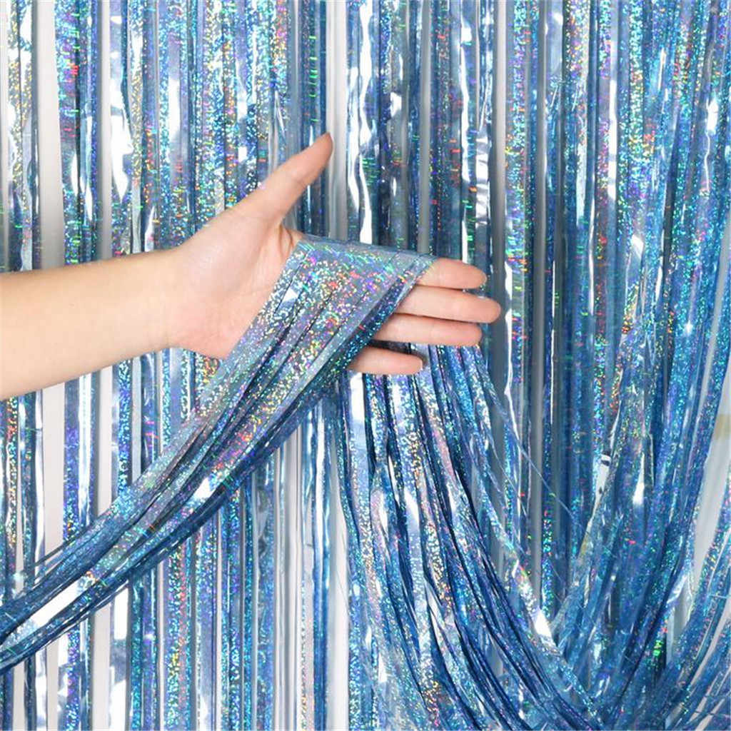 1Pcs Aluminum Foil Curtains Backdrop Chrome Metal Shimmer Curtain Birthday Wedding Party Festival Anniversary Perfect Decoration
