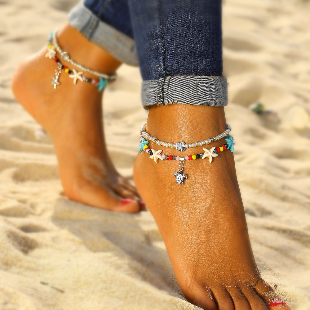 Shell Anklet Bead Starfish Anklets For Women Fashion Multi Layered Turtle Anklet Handmade Sandal Statement Bracelet Foot Jewelry bead