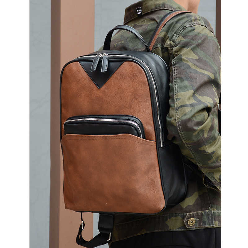 ... Fashion Pu Leather Male Backpack Schoolbag Teenagers Boy High School  Student College Wind Casual Travel Back ... e743025c2bfcc