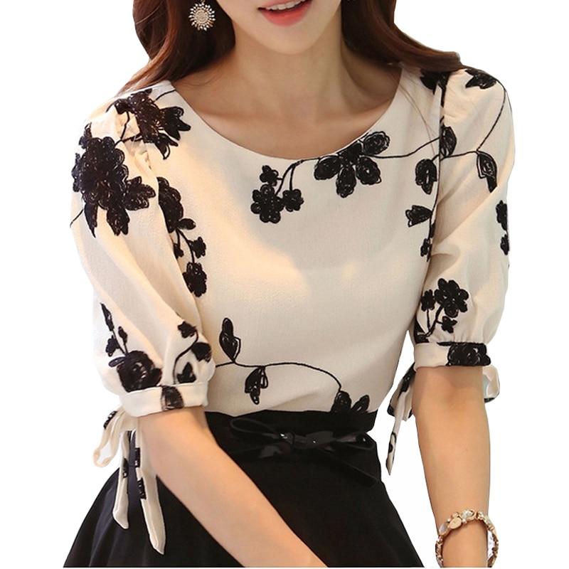 H3E# Plus Size 2 Layer Lace Embroidery Chiffon T-shirts Women Short Sleeve Tops