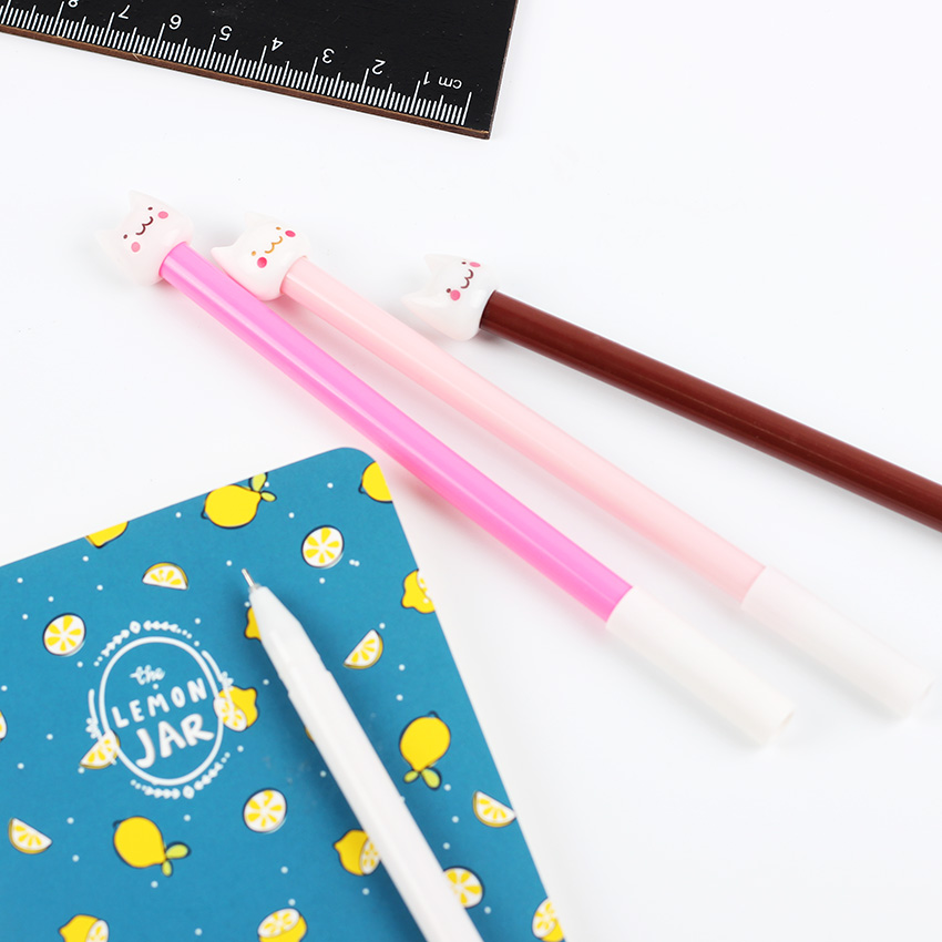 4PCS Multicolor Cute Kawaii Little Fresh Cat Gel Pen Korea Stationery Pens School Office Supplies Material Escolar