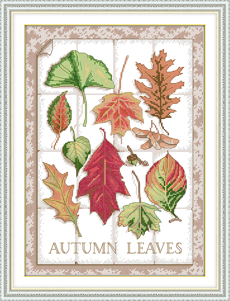 CROSS Stitch KIT Autumn Leaves