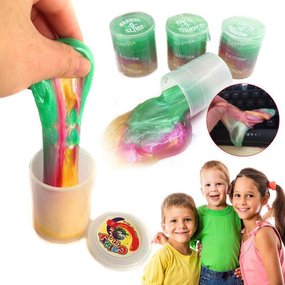 Soft Anti Stress Novelty DIY Shaped Mud Toys Christmas Gifts Colors Clear Clay Barrel Slime Glue Oil Crystal DIY for Kids
