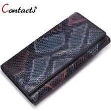 CONTACT'S Genuine Leather women Wallet female clutch bag ladies coin money phone card holder Organizer wallet women luxury brand