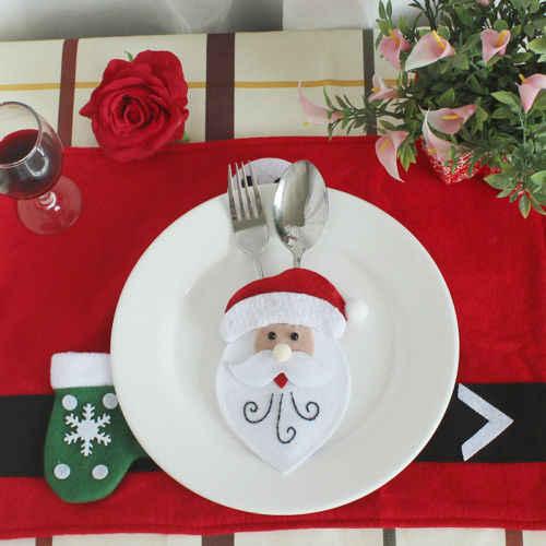 Xmas Горячее предложение Рождество держатели мини костюм серебро карман Посуда сумка разлили Декор Xmas столовые приборы мешок украшения