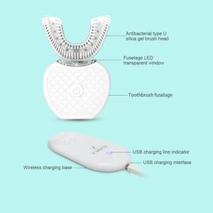 Image 3 - 360 derece otomatik elektrikli diş fırçası şarj edilebilir Sonic diş fırçası USB silikon fırça kafaları Oral bakım akıllı U tipi